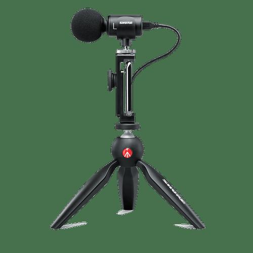 Kit de Vídeo Shure MV88+ com Microfone Digital, Tripé Manfrotto e Case de Transporte MV88+