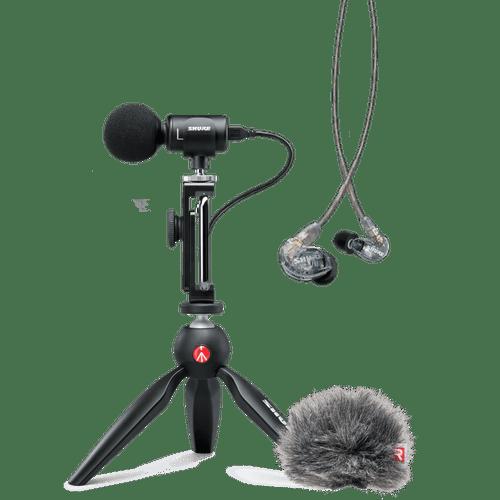 Kit YouTuber Shure com Microfone MV88+, Fone SE215-CL e Filtro Anti-Puf Kit Youtuber
