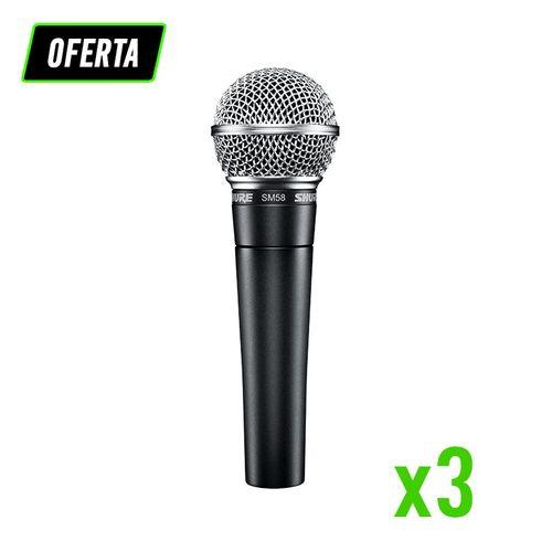 Kit com 3 Microfones SM58 Shure SM58LC...